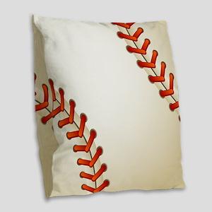 Baseball Ball Burlap Throw Pillow