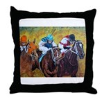 racing horses Throw Pillow