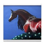 bay arabian horse Tile Coaster