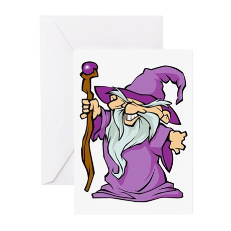 Purple Robed Wizard Greeting Cards (Pk of 10)