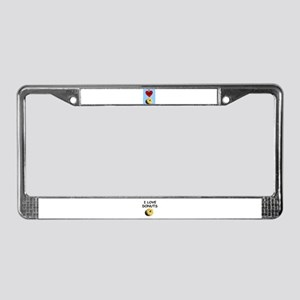 I LOVE DONUTS License Plate Frame