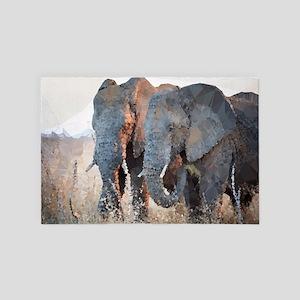 Elephants Low Poly Geometric 4' x 6' Rug