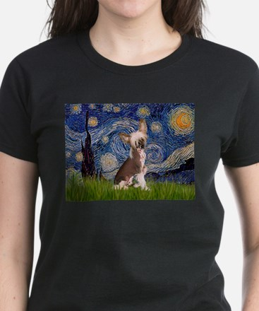 Starry Night/Chinese Crested Women's Dark T-Shirt