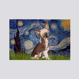 Starry Night/Chinese Crested Rectangle Magnet