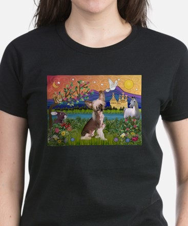 Chinese Crested Fantasyland Women's Dark T-Shirt