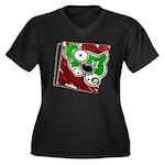 Dog Pin Women's Plus Size V-Neck Dark T-Shirt