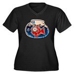 Fish Bowl Women's Plus Size V-Neck Dark T-Shirt