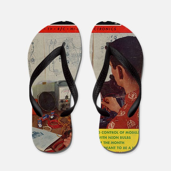 old time science magazine cover Flip Flops