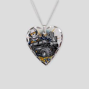 Music Mixer Monster Truck Necklace Heart Charm