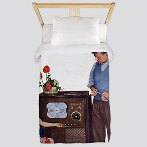 old time science magazine cover Twin Duvet