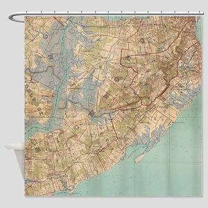 Vintage Map of Staten Island (1891) Shower Curtain