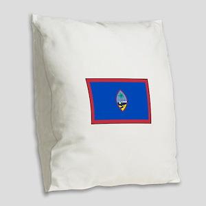 Guam Flag Burlap Throw Pillow
