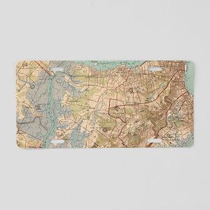 Vintage Map of Staten Islan Aluminum License Plate