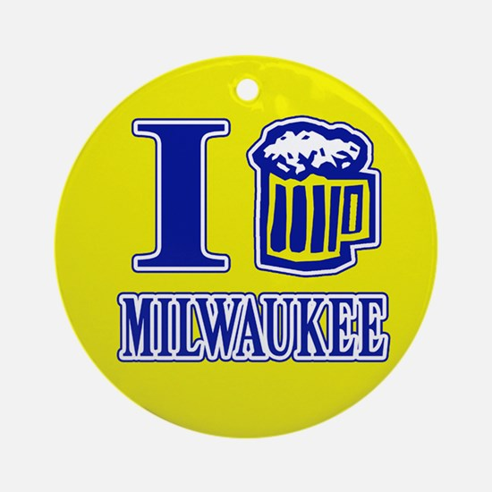 I BEER MILWAUKEE Ornament (Round)