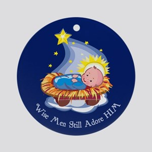Wise Men Adore HIM Christmas Ornament (Round)