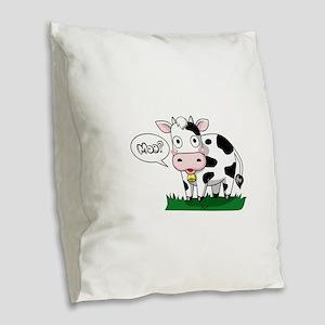 Moo? Burlap Throw Pillow