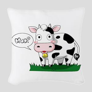 Moo? Woven Throw Pillow