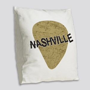 Nashville Guitar Pick Burlap Throw Pillow