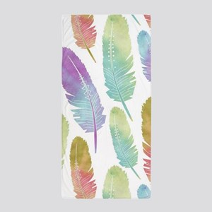 Boho Feather Pattern Watercolor Rainbo Beach Towel