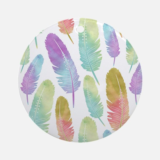 Boho Feather Pattern Watercolor R Ornament (Round)
