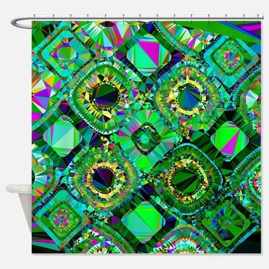 Mosaic 2 Geometric Low Poly Shower Curtain
