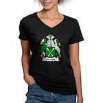 Newton Family Crest Women's V-Neck Dark T-Shirt