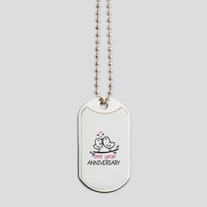 1st Anniversary Cute Couple Doodle Birds Dog Tags