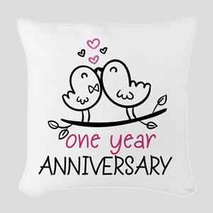 1st Anniversary Cute Couple Do Woven Throw Pillow