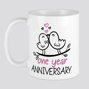 1st Anniversary Cute Couple Doodle Bird Mug Mugs