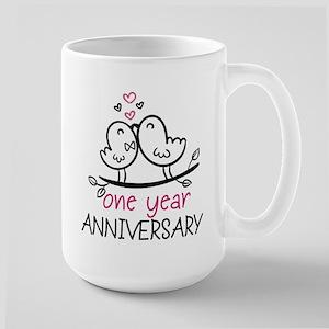 1st Anniversary Cute Couple Doodle Bird Large Mug