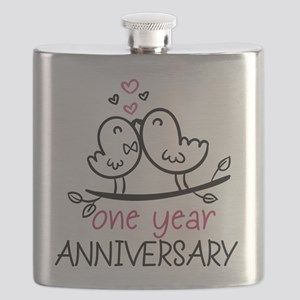 1st Anniversary Cute Couple Doodle Birds Flask