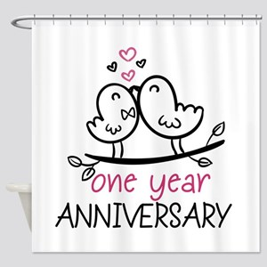 1st Anniversary Cute Couple Doodle Shower Curtain