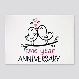 1st Anniversary Cute Couple Doodle 5'x7'Area Rug