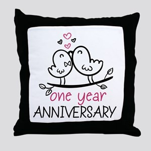 1st Anniversary Cute Couple Doodle Bi Throw Pillow