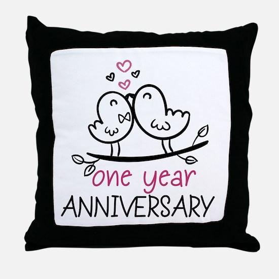 1st Anniversary Cute Couple Doodle Bi Throw Pillow