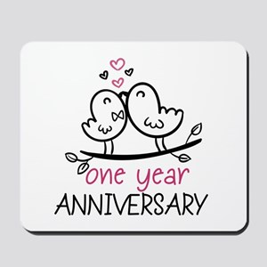 1st Anniversary Cute Couple Doodle Birds Mousepad