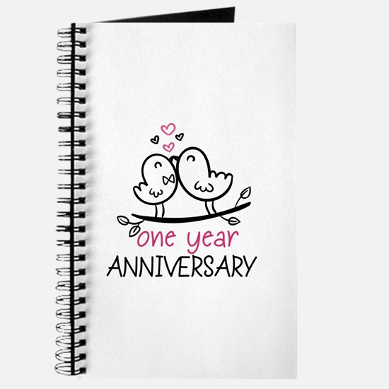 1st Anniversary Cute Couple Doodle Birds Journal