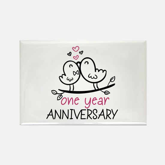 1st Anniversary Cute Couple Doodl Rectangle Magnet