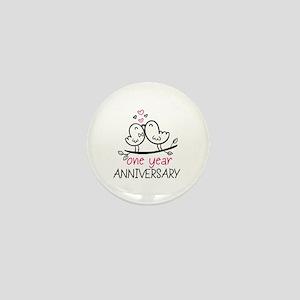 1st Anniversary Cute Couple Doodle Bir Mini Button