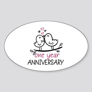 1st Anniversary Cute Couple Doodle Sticker (Oval)