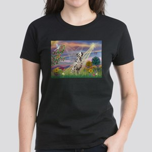 Mona Lisa (new) & Dalmatian Women's Dark T-Shirt