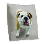 Bulldog Burlap Throw Pillow