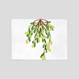 red xmas mistletoe 5'x7'Area Rug