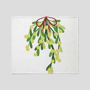 red xmas mistletoe Throw Blanket