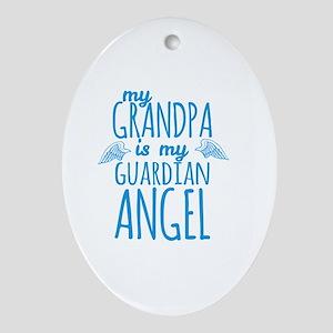My Grandpa is my Guardian Angel Oval Ornament