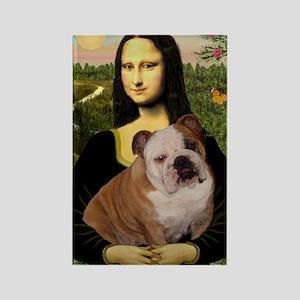 Mona Lisa & English Bulldog Rectangle Magnet