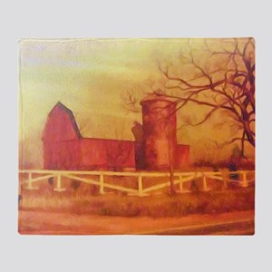 Midwest Barn Painting Throw Blanket