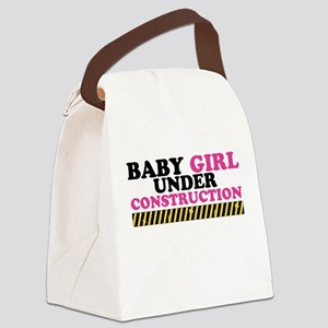 Baby Girl Under Construction Canvas Lunch Bag