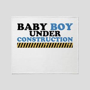 Baby Boy Under Construction Throw Blanket
