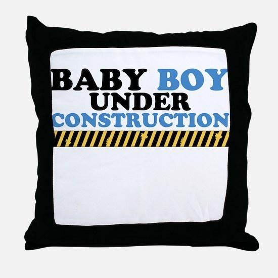 Baby Boy Under Construction Throw Pillow